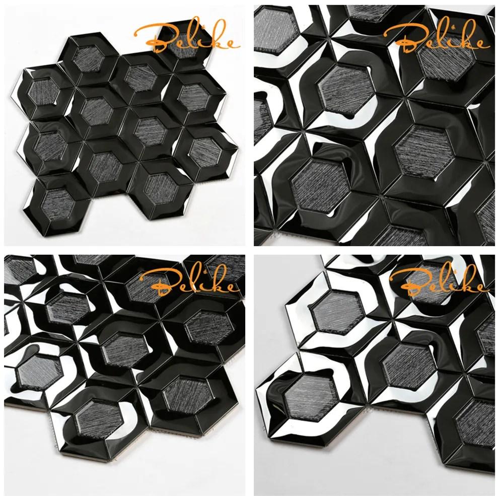 mosaique hexagonal en acier inoxydable 3d carrelage metallique noir texture arbre en verre decor maison grand design somptueuse et moderne buy