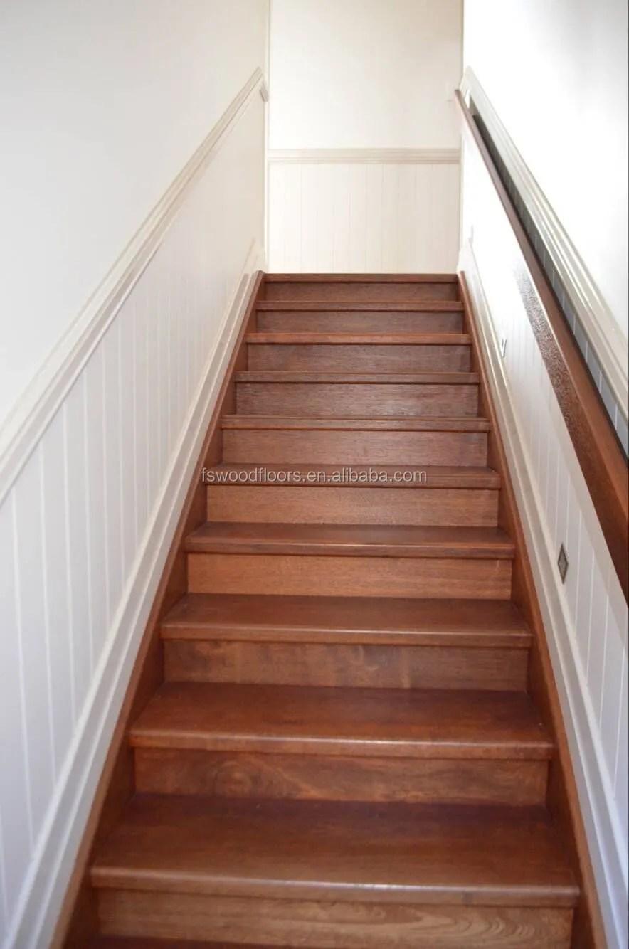 Indonesian Merbau Hardwood Stair Tread Stair Riser View | Hand Scraped Stair Treads | Tread Width | Brazilian Cherry | Stair Parts | Hardwood Floors | Laminate Flooring