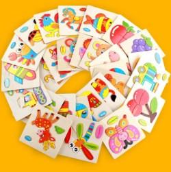 Warna Warni Teka Teki Kayu Mainan Edukatif Developmental Bayi Mainan
