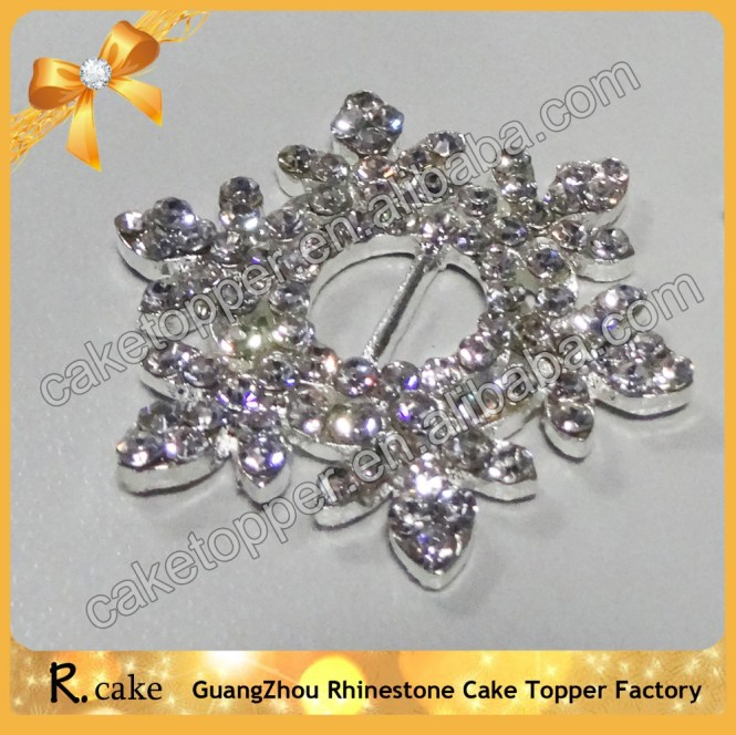 Double Row Round Rhinestone Buckles Slider Ribbon Sparkle For