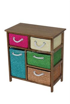 Bright Color Baskets Wooden Storage Cabinet Storage Unit