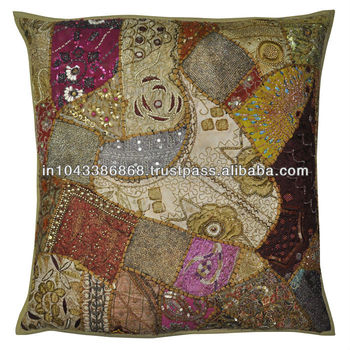 Embroidered Patchwork Cushion Cover Single Piece Indian Cotton     embroidered patchwork cushion cover  single piece indian cotton pillow  cover  handmade home decor adorn