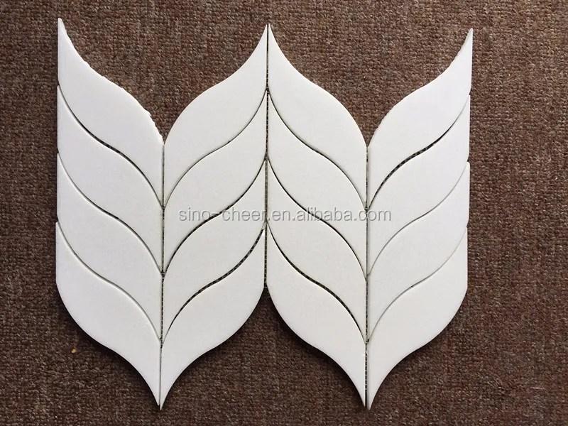 thassos white leaf shaped marble mosaic tile backsplash pattern buy thassos white leaf marble mosaic leaf shaped marble mosaic tile thassos white
