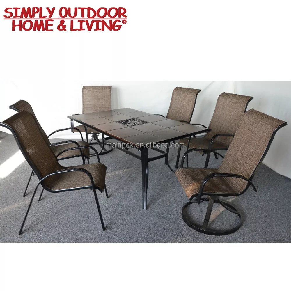7 piece patio dining set 6 seater with