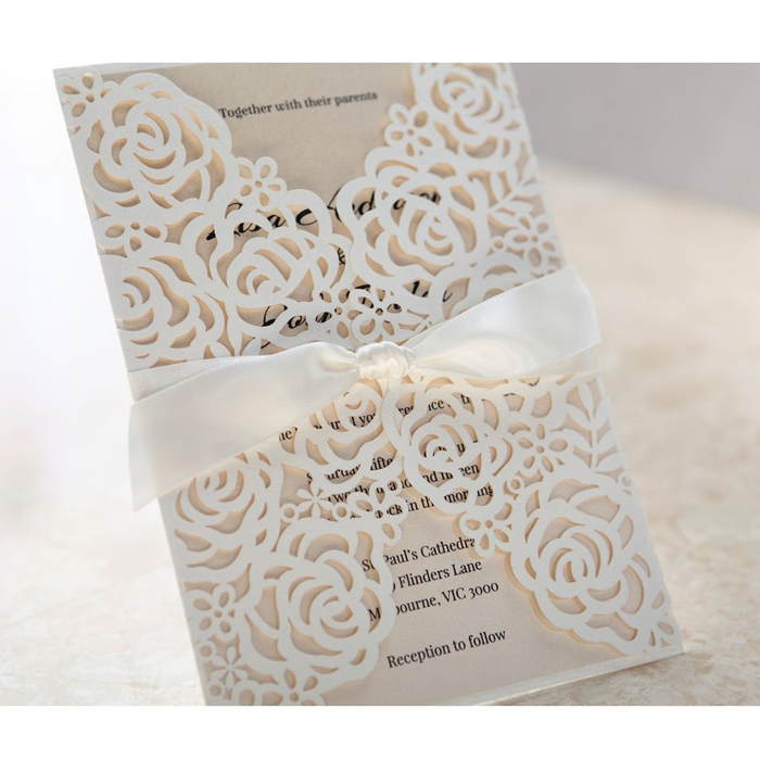 White Luxury Laser Cut Royal Wedding Card Design