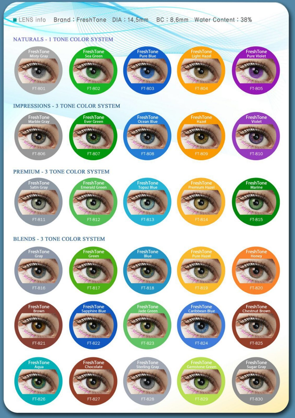 50 Top Colors Freshtone Colored Contact Lenses For Eyes