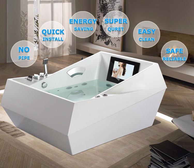 Hydromassage Bathtub 2 Person Spa Bath Freestanding