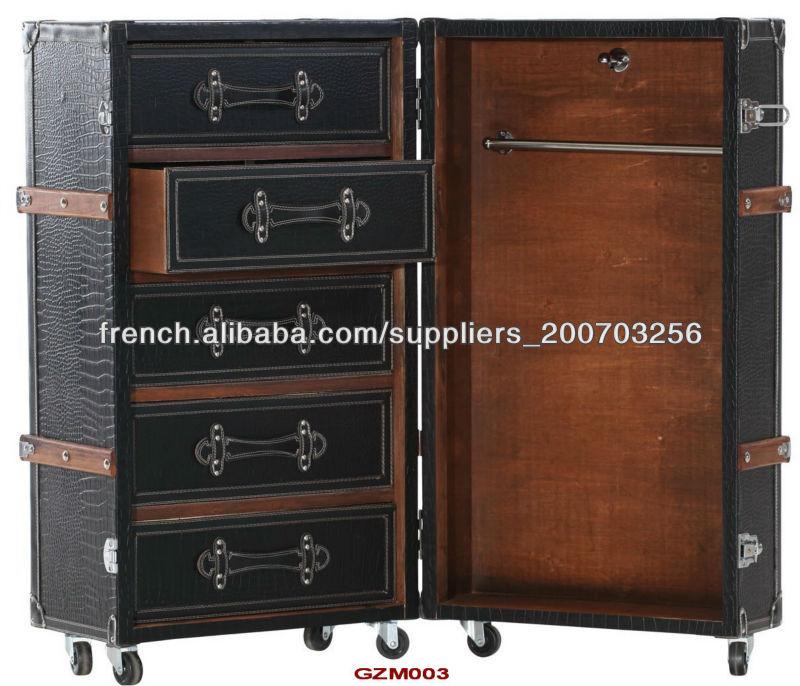 antique malle armoire en simili cuir croco noir mat