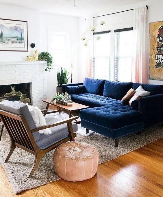 navy blue velvet upholstery corner
