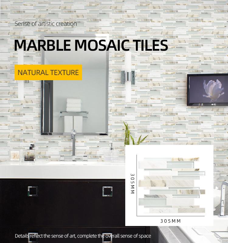 decorative white marble random strip wall mosaic tile random strip calacatta gold marble mosaics bathroom backsplash tile buy marble mosaics