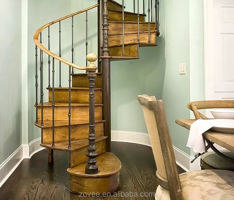 Hot Sale Wood Railing Stairs Laminated Treads Spiral Staircase | Wooden Spiral Staircase For Sale | Solid Wood | 36 Inch Diameter | Unique | Curved | Closed Riser