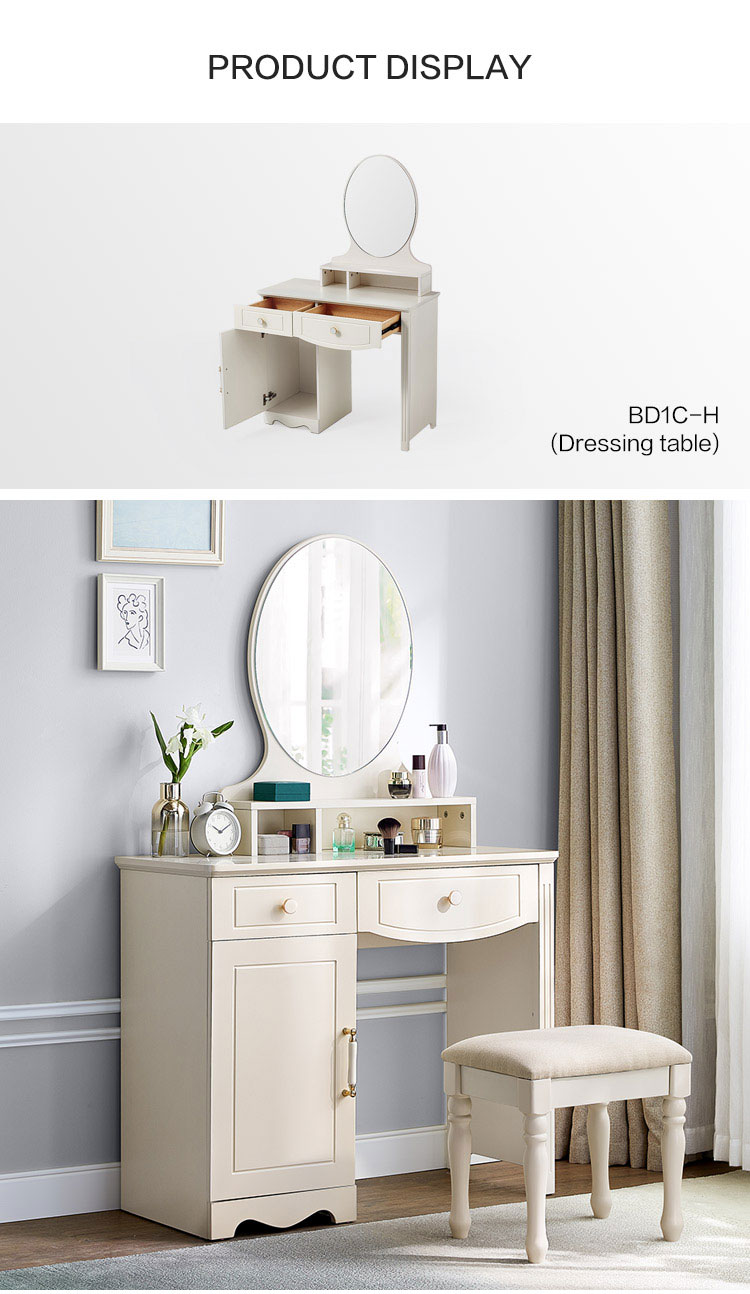 Beauty Dressing Table White Cabinet Drawer Mirror Mid Century Natural Wood Modern Dresser