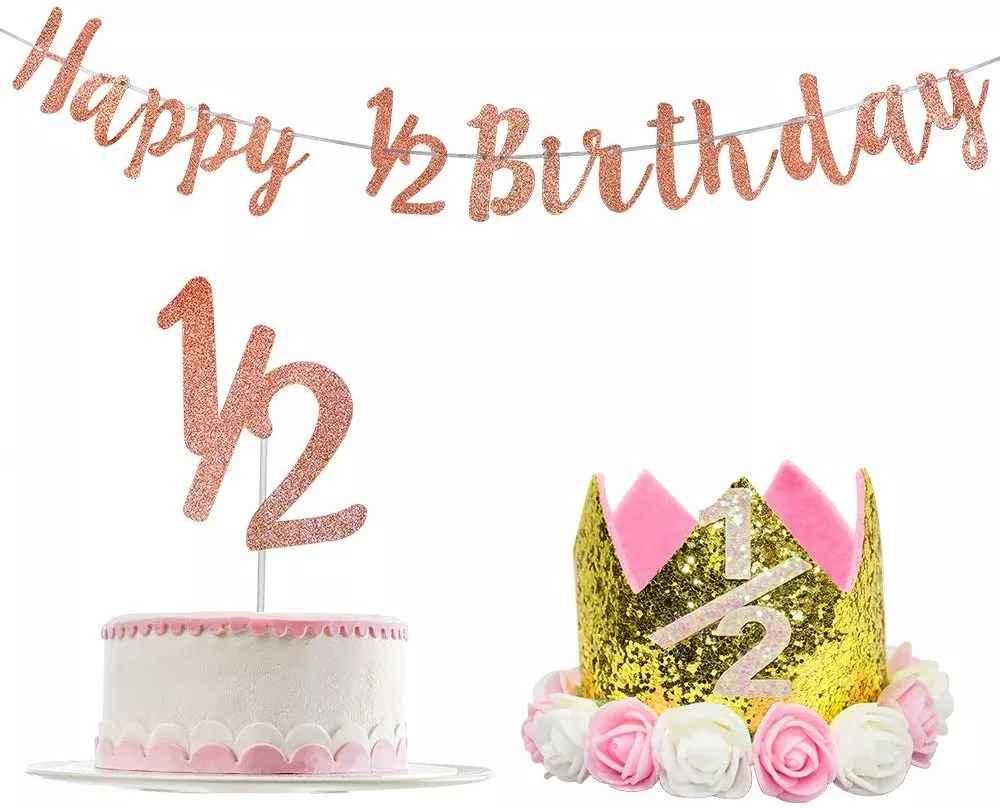 Rose Gold 1 2 Cake Topper Half Birthday Banner Crown Baby Girl 6 Months Happy 1 2 Half Birthday Party Supplies Decorations Buy Half Birthday Banner For Half Birthday Party Supplies 1 2 Happy Birthday