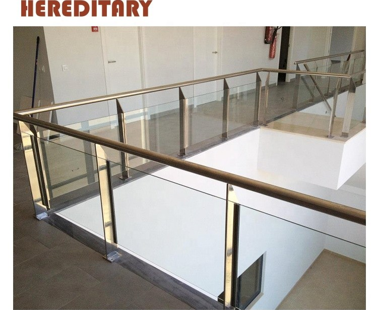 Round Post Stainless Steel Corridor Stair Railing And Stair Glass | Glass Railing For Stairs Price | Curved Glass Balustrade | China | Spiral Staircase | Frameless Glass | Cable Railing