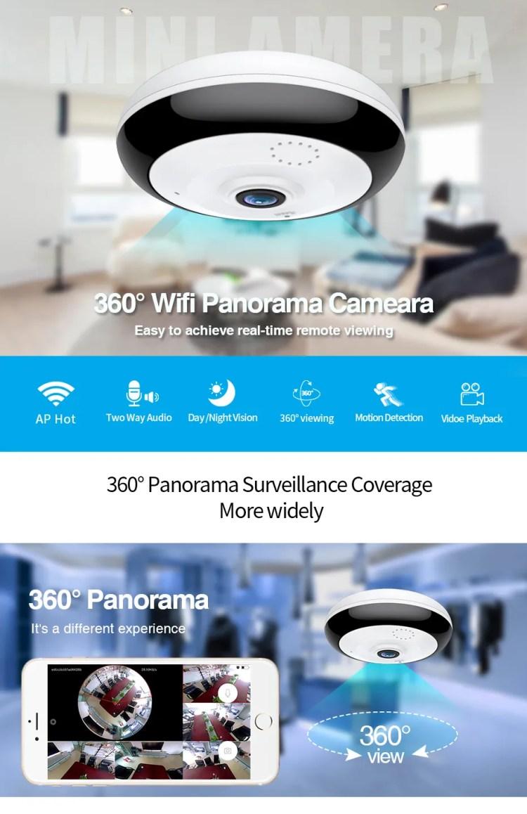 LOOSAFE 2MP V380 fisheye camera p2p cloud storage ip wifi camera VR Panoramic 360 Degree small night vision camera Celling