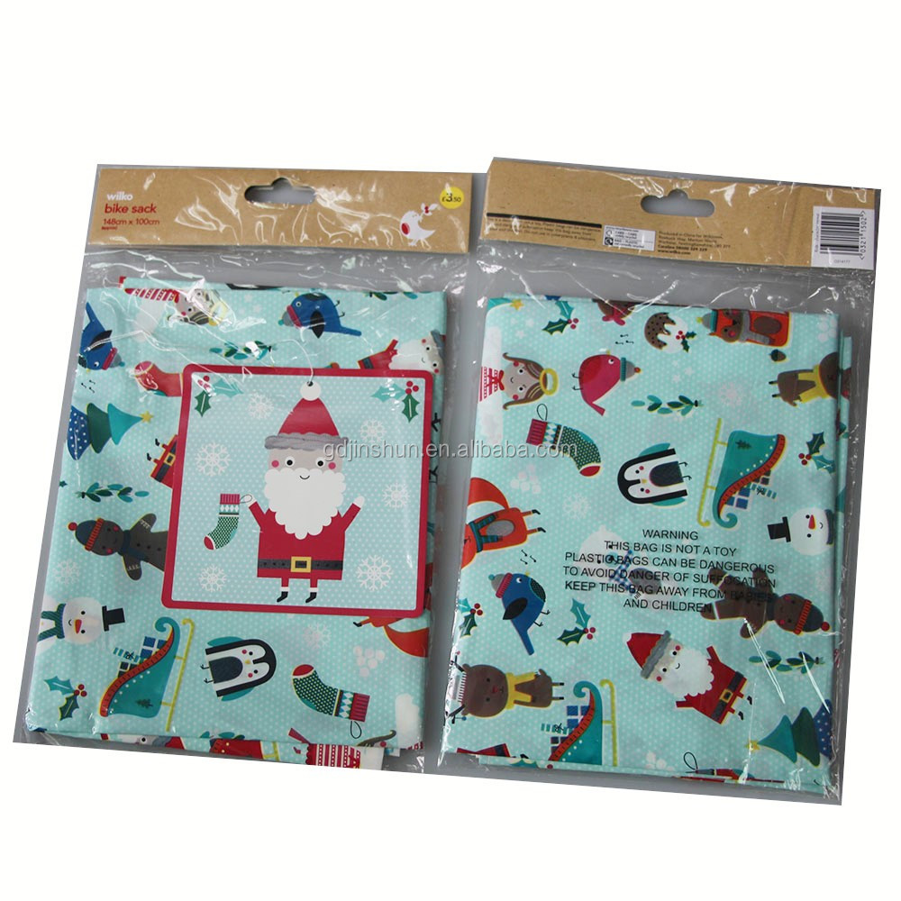 Wholesale Plastic Santa Christmas Jumbo Holiday Gift Bag