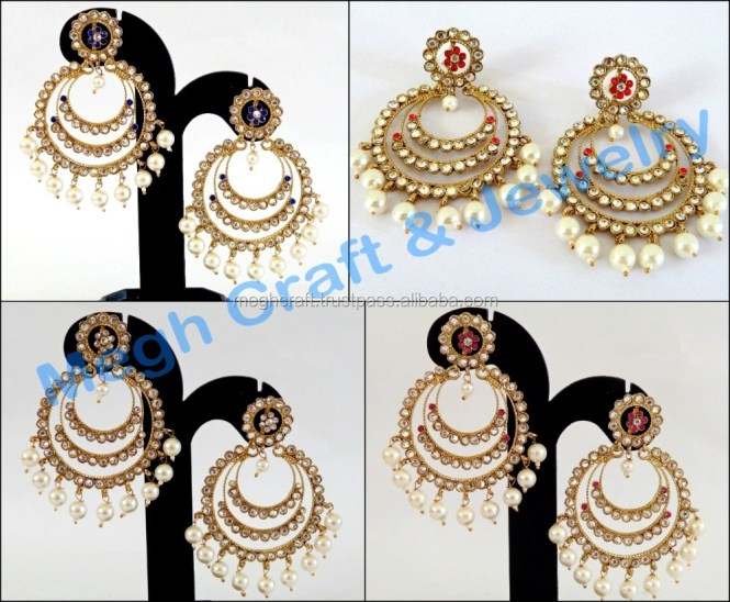 Stani Jewelry Whole Kundan Chandelier Earrings Indian Traditional Bollywood Style Pearl