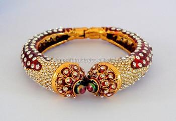 Rajwada Style One Gram Gold Plated Kada Wholesale Cz Stone And Meenakari Work Handmade Bracelets