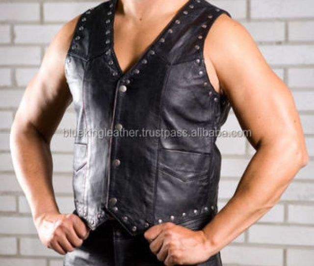 Black Genuine Leather Vest Gay Fetish Biker Wear