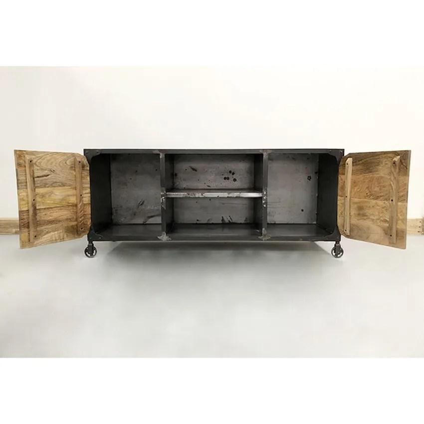 meubles de television industriel et vintage 2 portes en bois style retro en fer forge gris et noir buy tv cabinet with showcase cheap tv lift