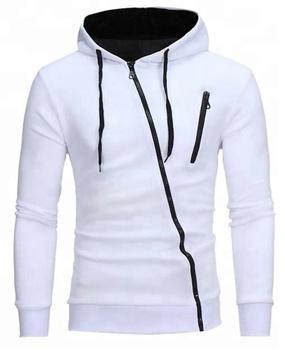 Hoodie - Diagonal zip fashion design plain hoodie