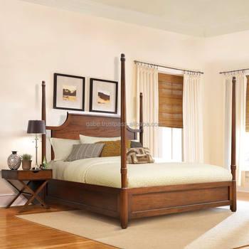 meubles de chambre a coucher serie lit a baldaquin king size en bois de teck massif