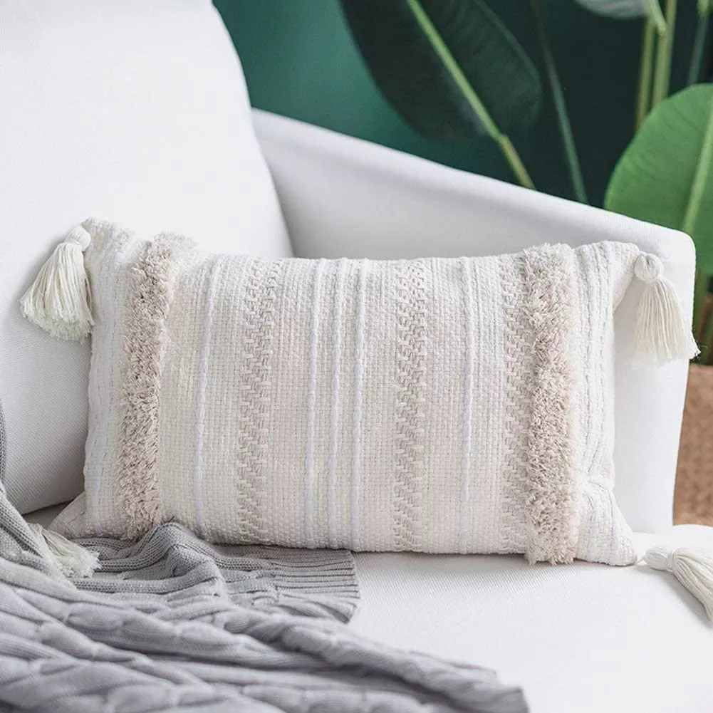 tufted throw pillow cover with handwoven stripes linen cotton simple decorative cushion case for couch sofa bedroom living roo buy pillow case