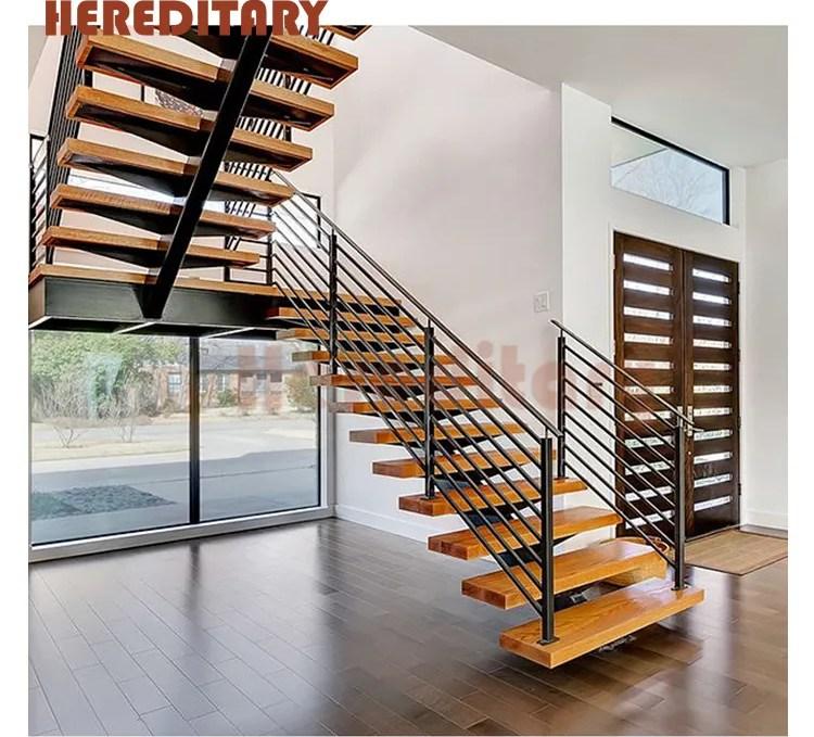Prefab Indoor Wood Steps Pipe Railing Staircase Metal Stringers | Wood Steps For Sale | Yard | Temporary | Design | Travel Trailer | Camper