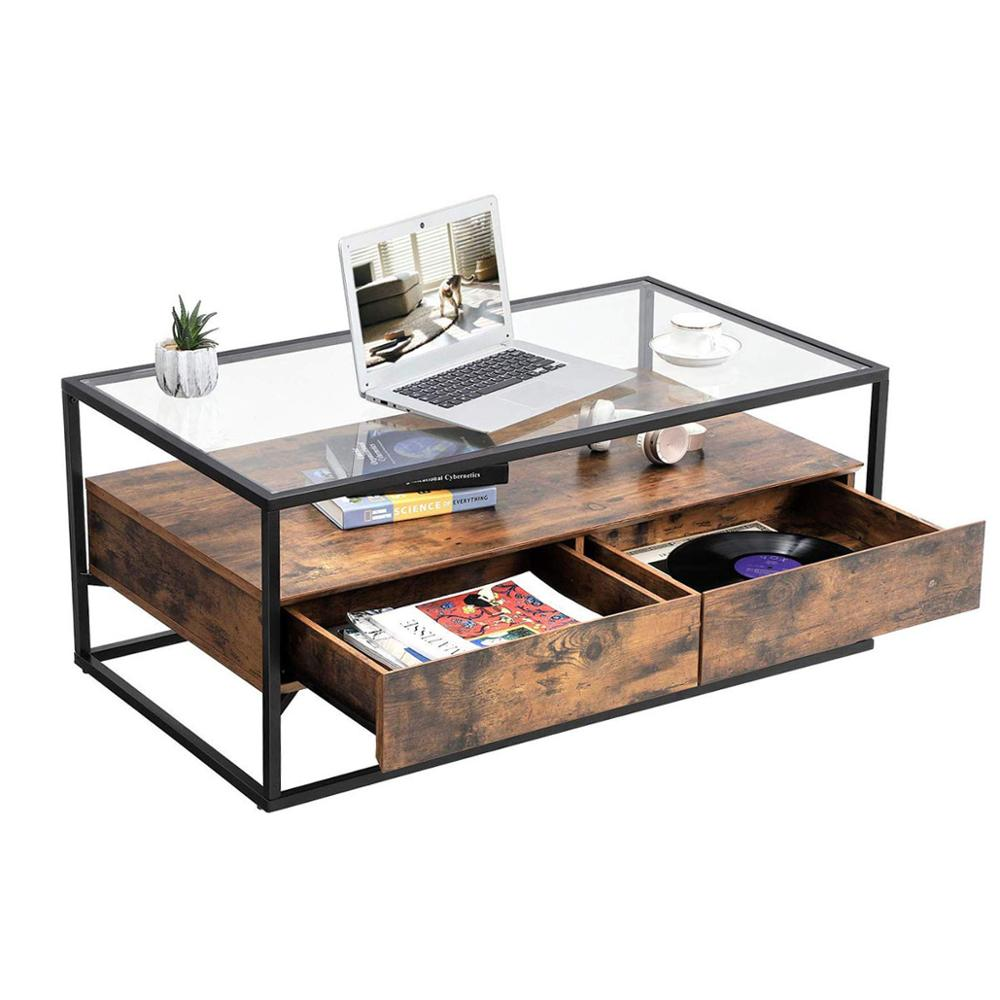 Vasagle Industrial Coffee Table Tempered Glass Top With 2 Drawers And Rustic Shelf Decoration Tea Table In Living Room Lounge Buy Coffee Table With Drawer Glass Top Coffee Table Industrial Coffee Table Product On Alibaba Com