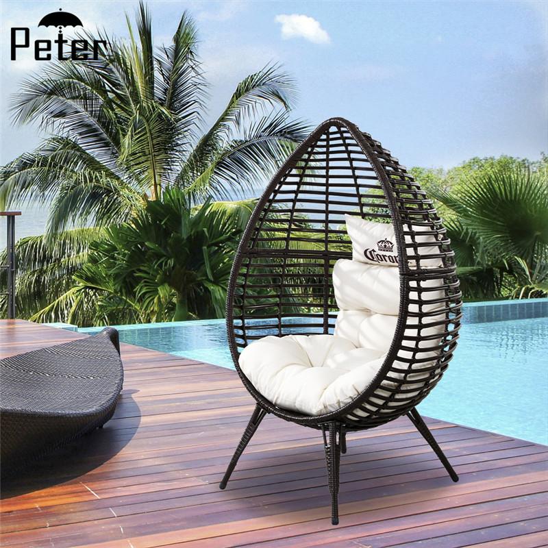 egg shape resin pe rattan steel tube garden outdoor lounge chair with 4 legs buy egg chair lounge chair outdoor round lounge chairs product on