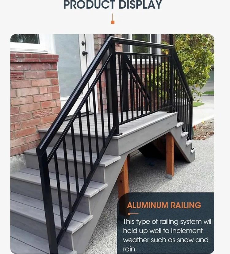 High Quality Black Metal Aluminum Pipe Design Outdoor Deck Bridge   Black Outdoor Stair Railing   Black Vinyl   Cast Iron   Residential   Outside Building   Three Step
