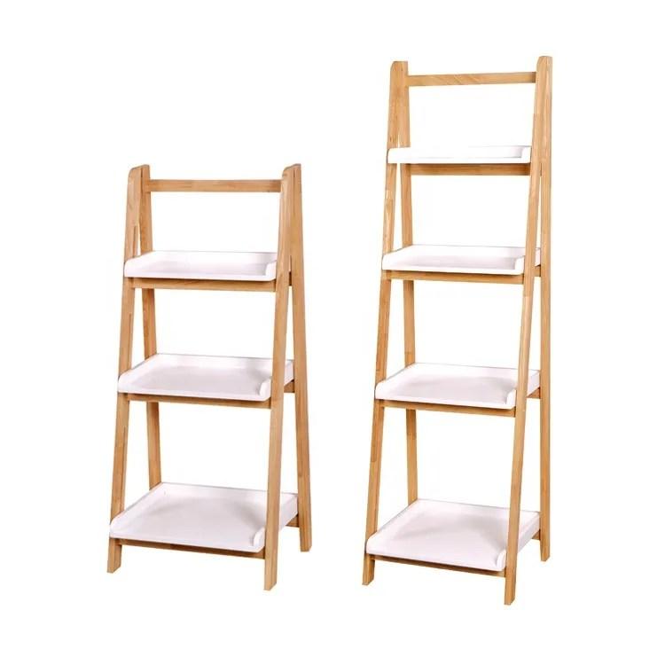 nouvelle conception en caoutchouc bois salle de bain echelle 4 etagere d angle buy etagere d angle a 4 niveaux nouvelle etagere d echelle de salle