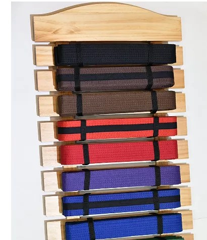 2020 popular martial arts standard wall mounted belt rack display karate belt display holds 8 and 10 and 12 martial arts belts buy personalize