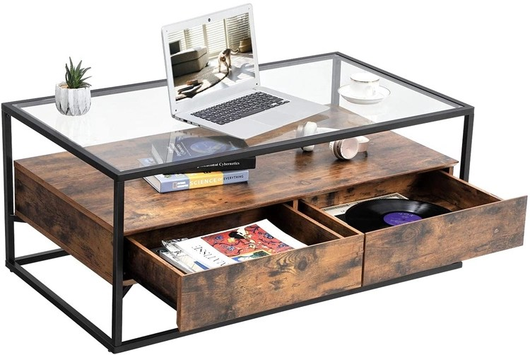 vasagle industrial coffee table tempered glass top with 2 drawers and rustic shelf decoration tea table in living room lounge buy coffee table with