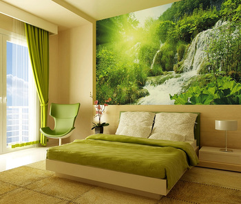 Beautiful Natural Scenery Sunlight Jungle Style Waterfall Wall Painting Mural Living Room Decor Wallpaper Buy Natural Wallpaper Waterfall