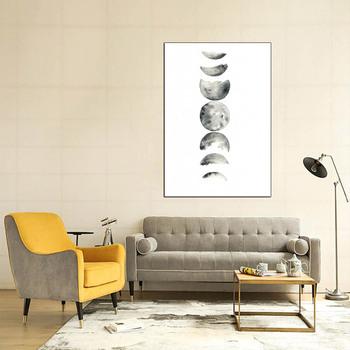 Minimalis Fase Bulan Kanvas Lukisan Hitam Putih Art Poster Grafis