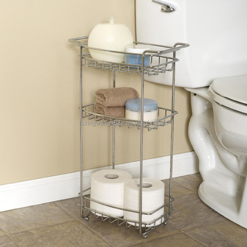 new bathroom cart shelf floor stand laundry office slim chrome 3