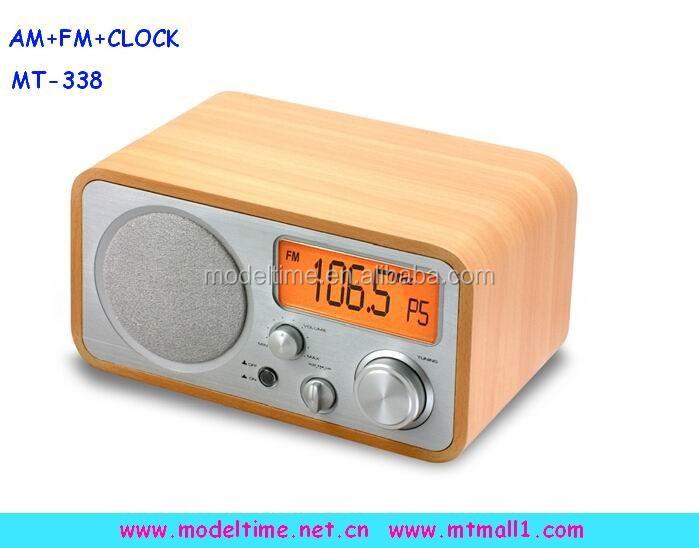 Wooden Radio Alarm Clock Design Decoration