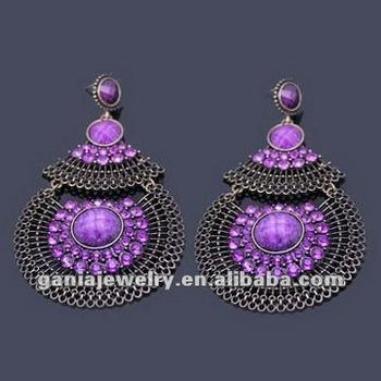 Vintage Purple Crystal Chandelier Earrings