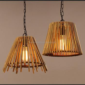 Antique Lighting Globe Wooden Chandelier A B C Shape Bamboo Hanging Light