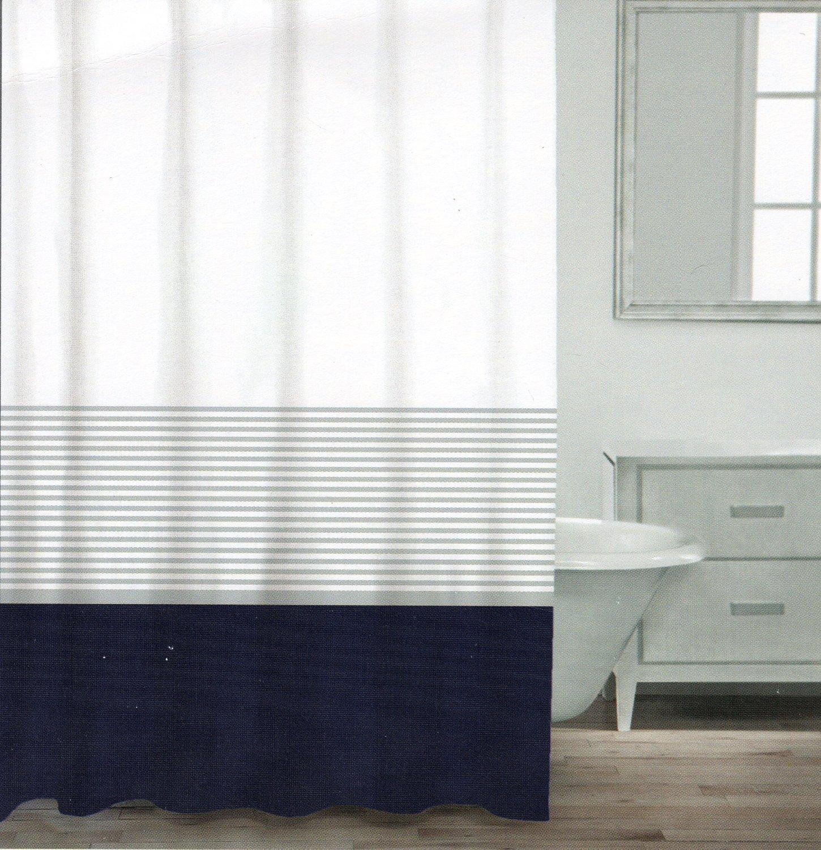 Buy Dkny Graphic Stripe Cotton Fabric Shower Curtain Aqua