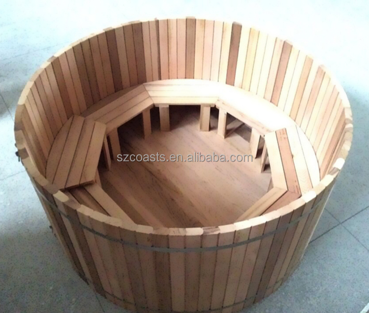 Round Wooden Bathtub With External Heater For 6 8 Person