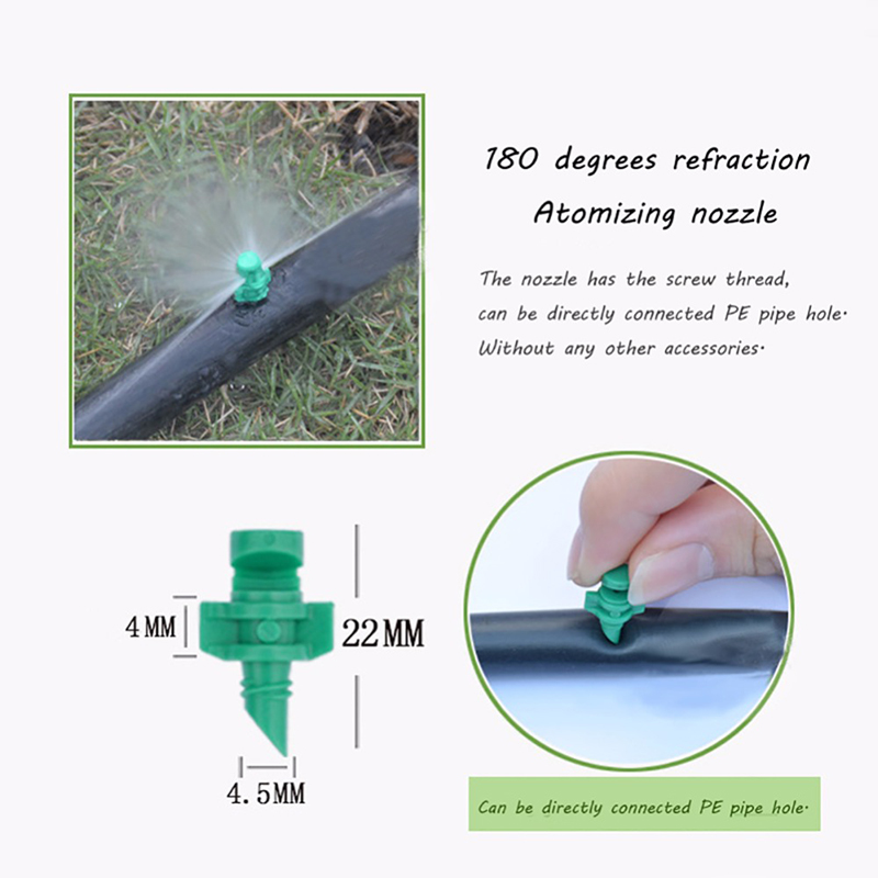HTB16E4Cf nI8KJjy0Ffq6AdoVXab 50 Pcs Garden Irrigation Simple Refraction nozzle Watering Flower Mist Nozzle Threaded connection 90/180/360 Degrees Sprayer