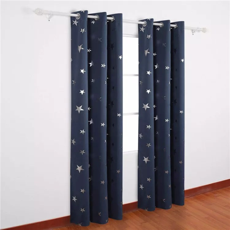 anjee silver star curtains for kids room thick blackout window curtains for light blocking and noise reducing buy blackout curtain silver star