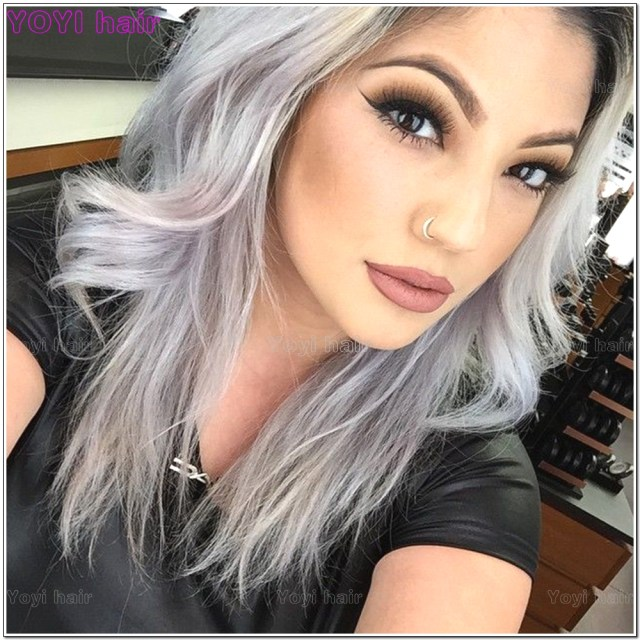 2 tone color grey ombre hair white and extension - buy white and grey hair extension,wet and wavy grey hair wefts,virgin remy grey hair product on