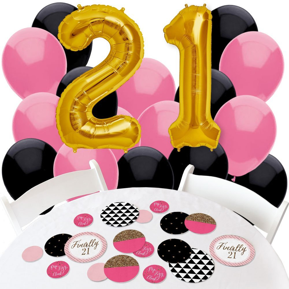 Buy Finally 21 Girl 21st Birthday Confetti And Balloon Birthday Party Decorations Combo Kit In Cheap Price On Alibaba Com