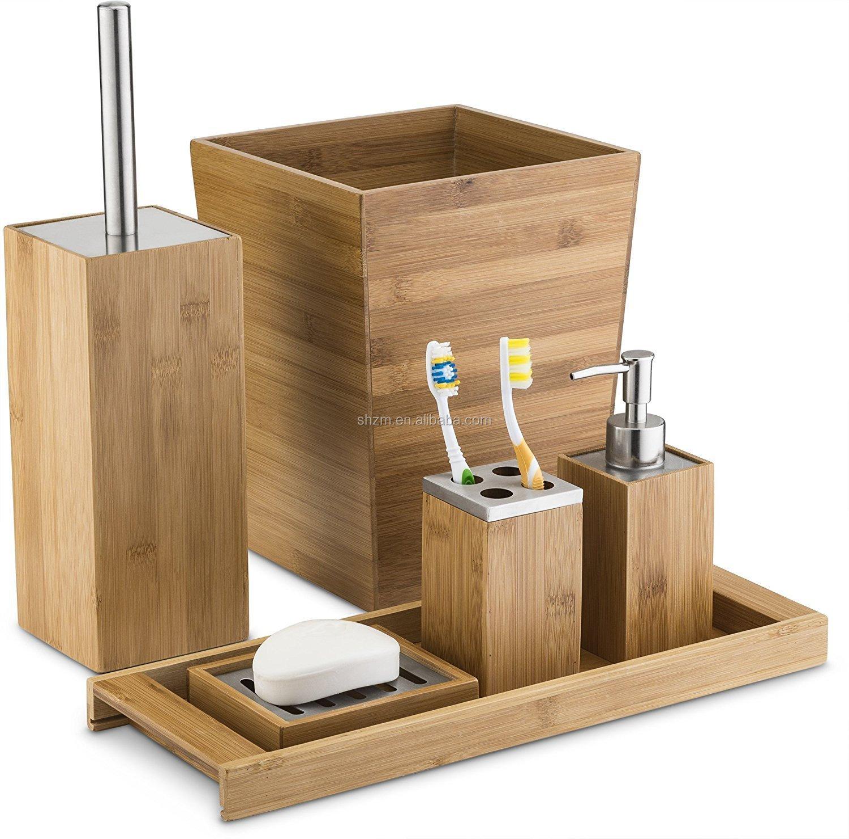 ensemble d accessoires de salle de bain en bois de bambou naturel 6 pieces livraison gratuite buy accessoires de bain en bambou