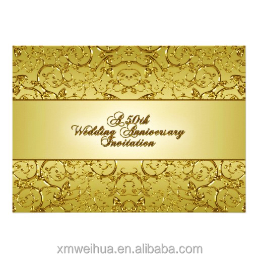 50th Ulang Tahun Pernikahan Hiasan Timbul Kartu Undangan Pernikahan