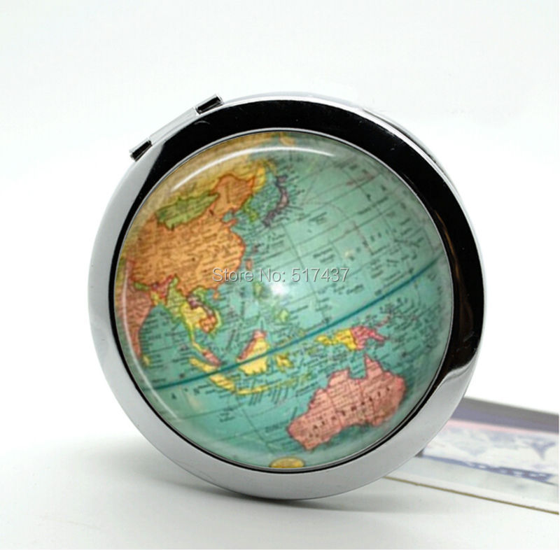 Buy New Arrival Globe Compact Mirror World Map Hand Pocket Mirrors     Buy New Arrival Globe Compact Mirror World Map Hand Pocket Mirrors Portable  Makeup Mirrors in Cheap Price on m alibaba com