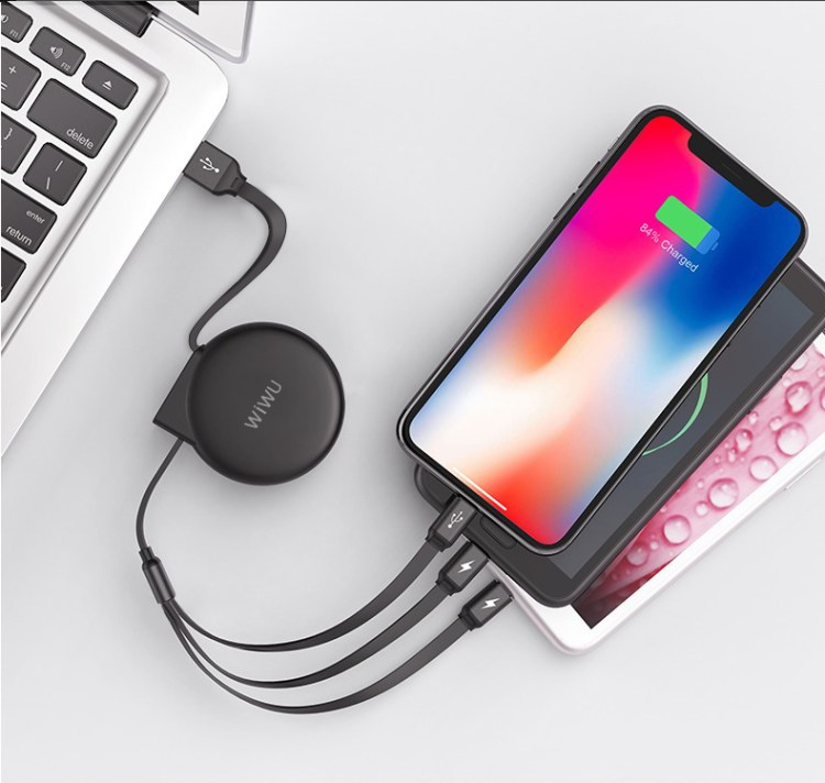 WiWU Multi USB Charger Cable Retractable 3 in 1 Multiple Charging Cord Adapter with Mini Type C Micro USB Port Connectors